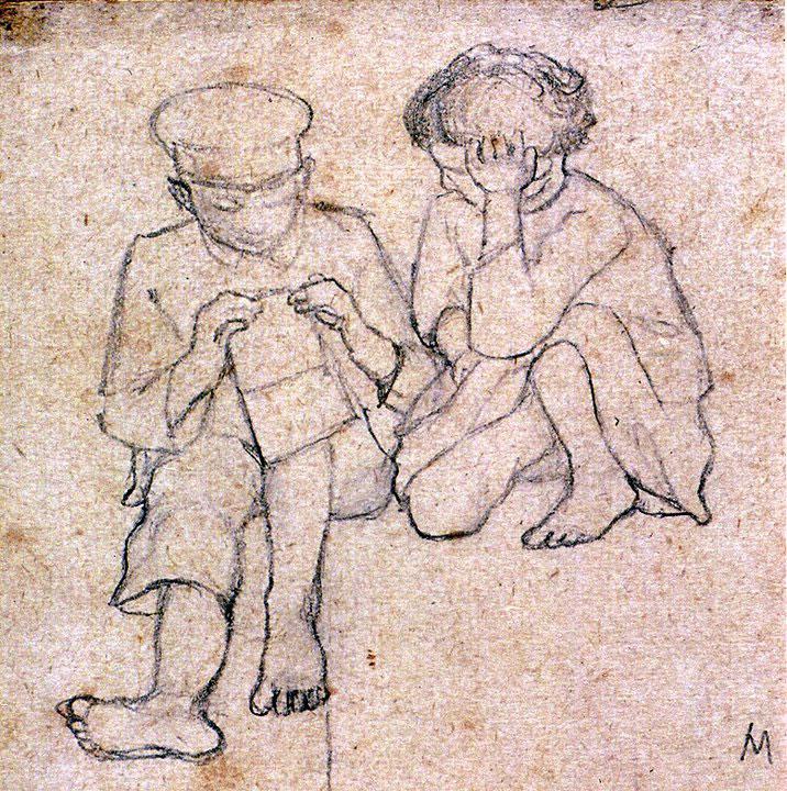 Disegni di Brancaleone Cugusi da Romana: studio per Bambino e bambina