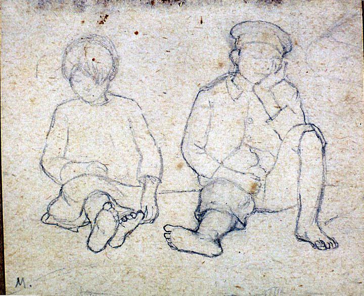 Disegni di Brancaleone Cugusi da Romana: studio per Bambina e bambino