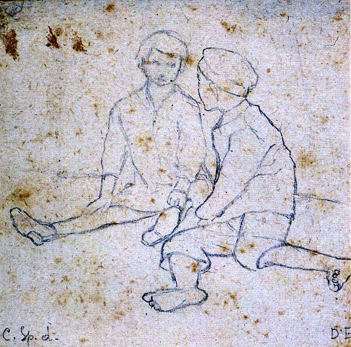 Disegni di Brancaleone Cugusi da Romana: studio per Bambina e bambino -2