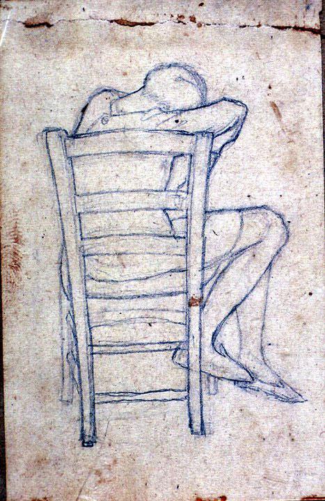 Disegni di Brancaleone Cugusi da Romana: studio per Ragazza seduta