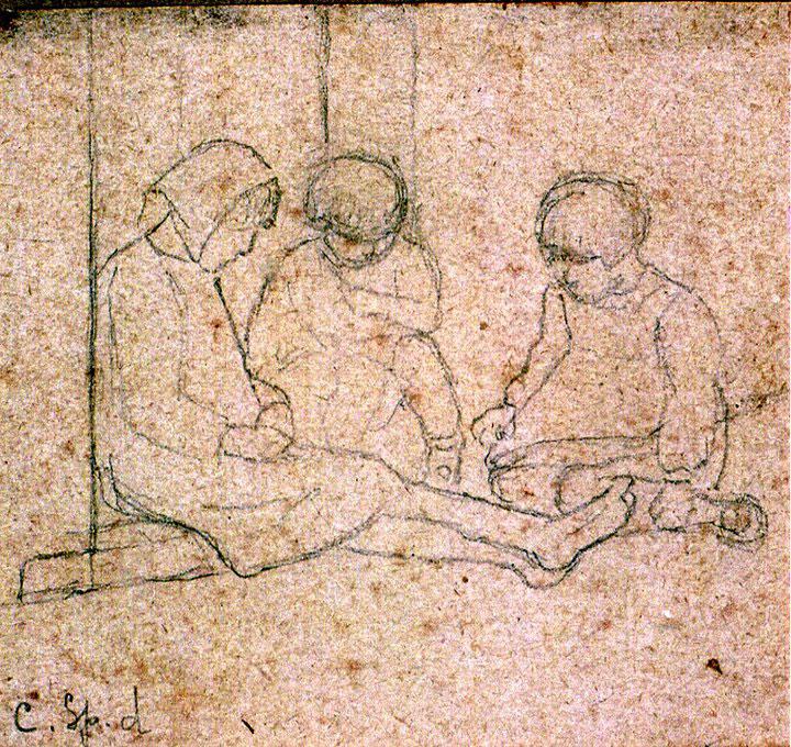 Disegni di Brancaleone Cugusi da Romana: studio per Tre bambine - 3