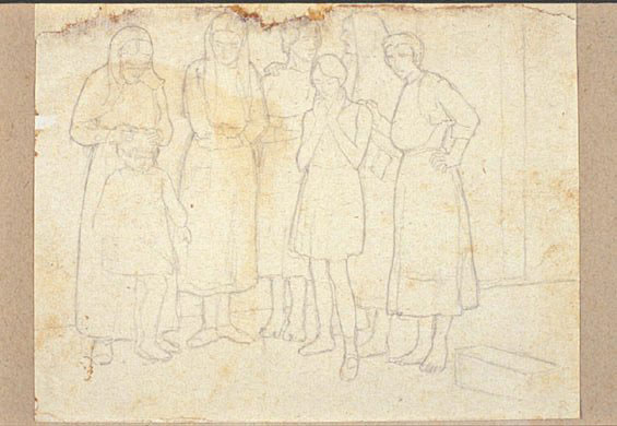 Disegni di Brancaleone Cugusi da Romana: studio per Donne e bambine