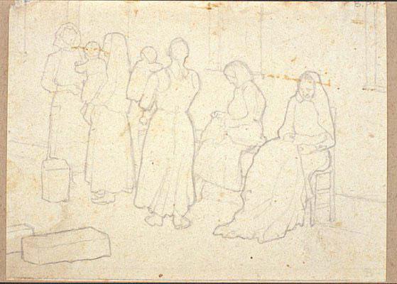 Disegni di Brancaleone Cugusi da Romana: studio per Donne e bambini