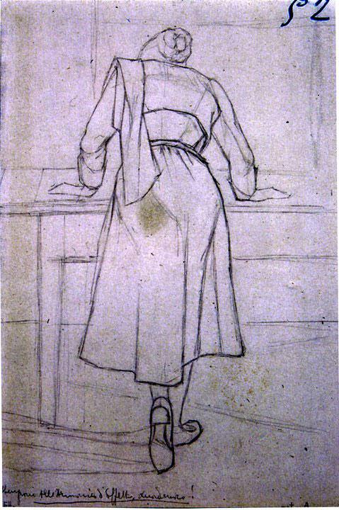 Disegni di Brancaleone Cugusi da Romana: studio per Donna di spalle