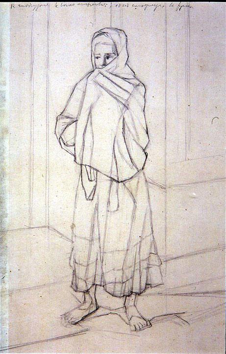 Disegni di Brancaleone Cugusi da Romana: studio per Donna con scialle