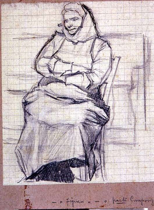 Disegni di Brancaleone Cugusi da Romana: studio per Vecchia seduta