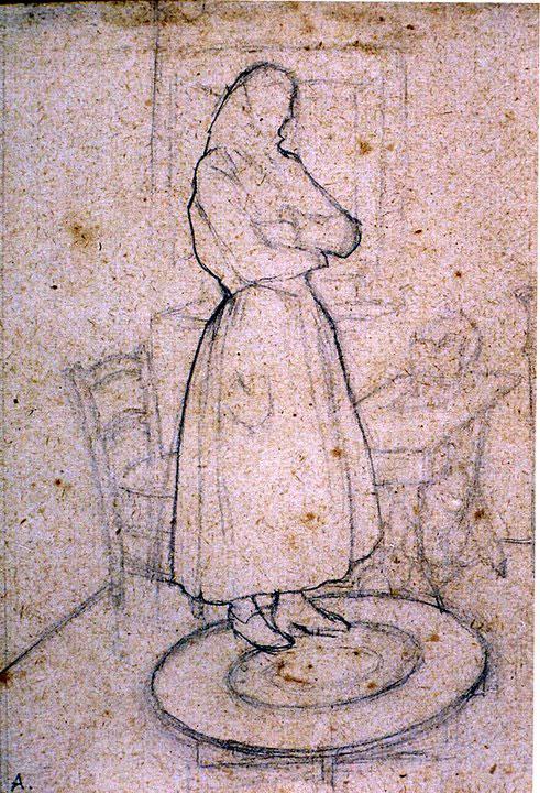 Disegni di Brancaleone Cugusi da Romana: studio per Donna in piedi