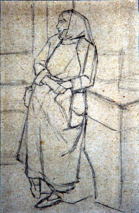 Disegni di Brancaleone Cugusi da Romana: studio per Vecchia
