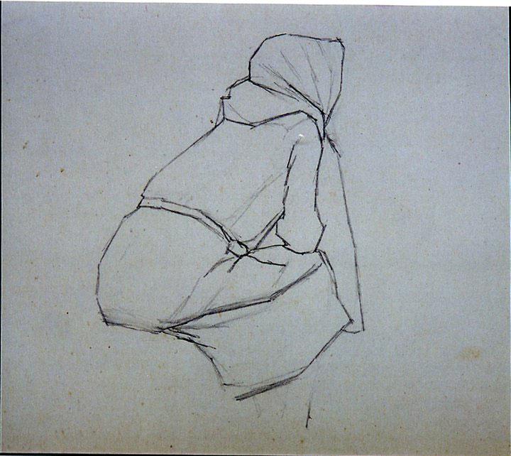 Disegni di Brancaleone Cugusi da Romana: studio per Donna di spalle - 2