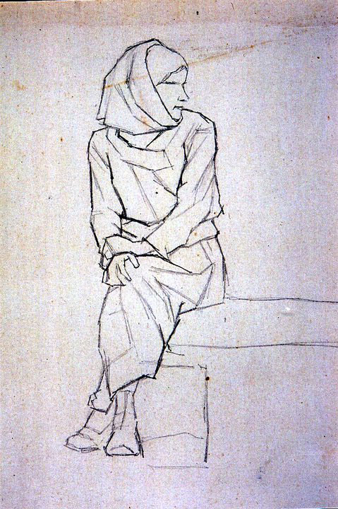 Disegni di Brancaleone Cugusi da Romana: Donna voltata a sinistra