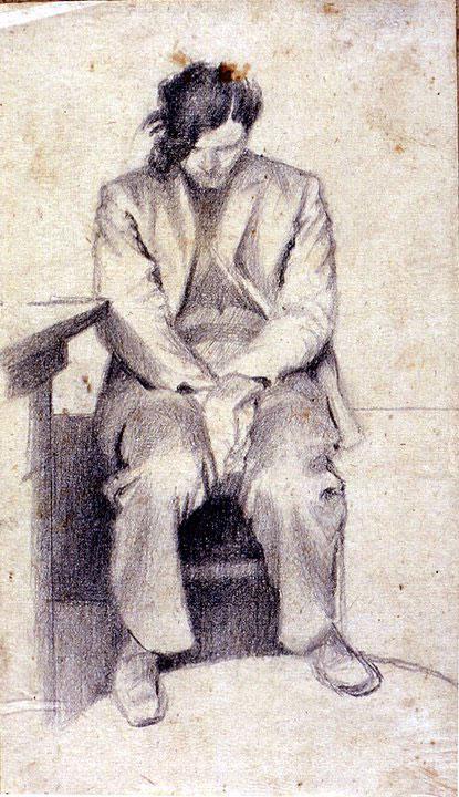 Disegni di Brancaleone Cugusi da Romana: Ragazzo seduto con testa china