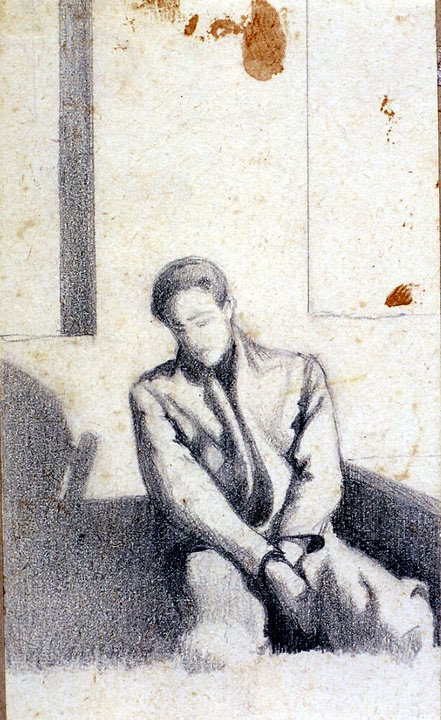 Disegni di Brancaleone Cugusi da Romana: studio per Uomo seduto