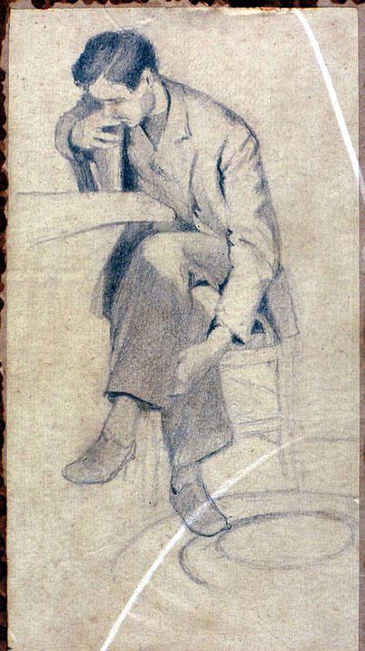 Disegni di Brancaleone Cugusi da Romana: Ragazzo seduto che legge