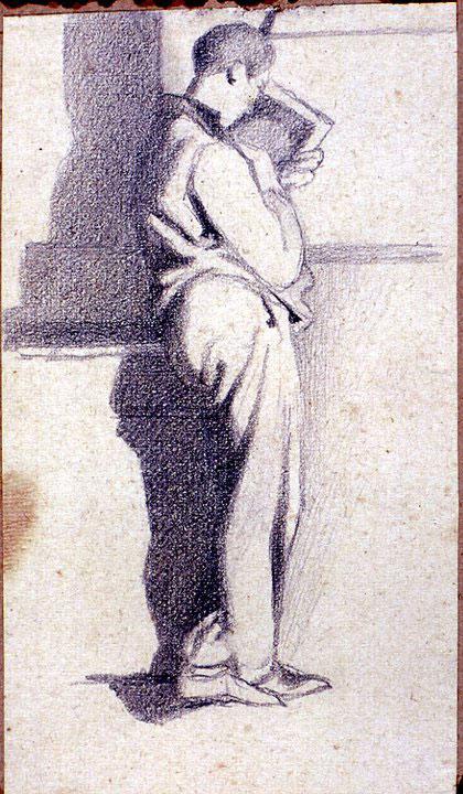 Disegni di Brancaleone Cugusi da Romana: studio per Ragazzo con libro