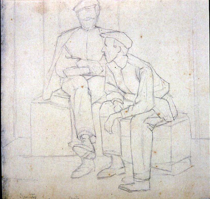 Disegni di Brancaleone Cugusi da Romana: Due uomini con berretto