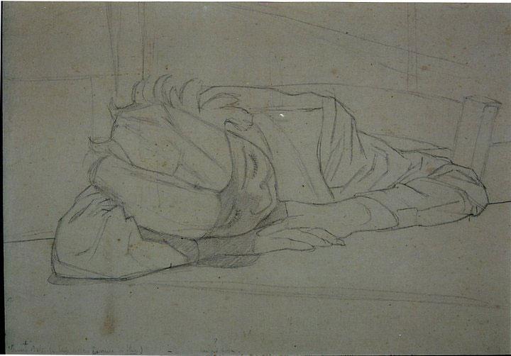 Disegni di Brancaleone Cugusi da Romana: studio per Bambina dormiente