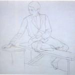 Disegni di Brancaleone Cugusi da Romana: Giovane seduto su panca