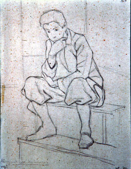 Disegni di Brancaleone Cugusi da Romana: studio per Ragazzo pensieroso