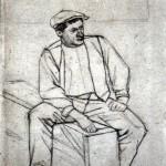 Disegni di Brancaleone Cugusi da Romana: studio per Fumatore