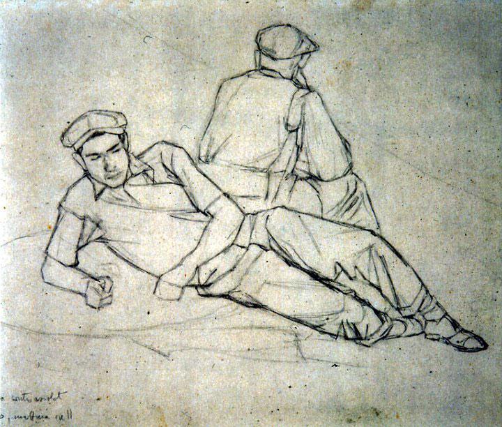 Disegni di Brancaleone Cugusi da Romana: studio per Due uomini