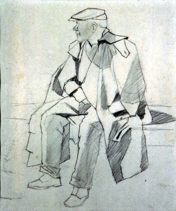 Disegni di Brancaleone Cugusi da Romana: Uomo seduto con mantella