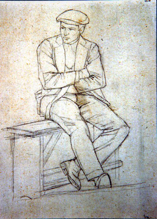 Disegni di Brancaleone Cugusi da Romana: Giovane seduto su panca - 2