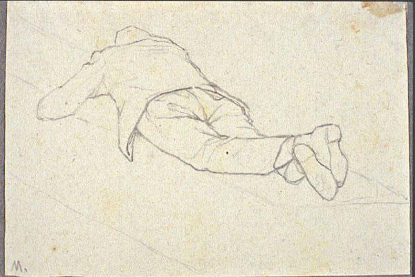 Disegni di Brancaleone Cugusi da Romana: studio per Uomo sdraiato