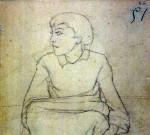 Disegni di Brancaleone Cugusi da Romana: studio per Ragazza seduta - 2