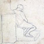 Disegni di Brancaleone Cugusi da Romana: Ragazza seduta di spalle