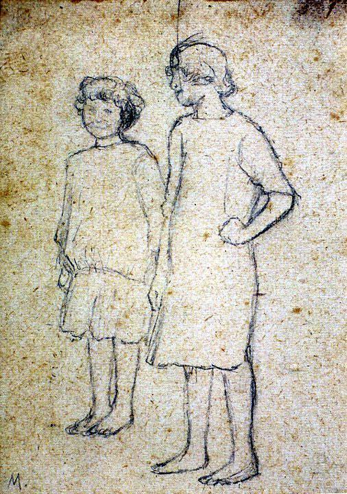 Disegni di Brancaleone Cugusi da Romana: studio per Due bambine