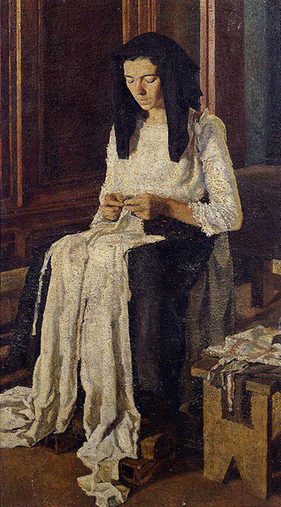 Opere di Brancaleone Cugusi da Romana: Donna che cuce (1936-1941)