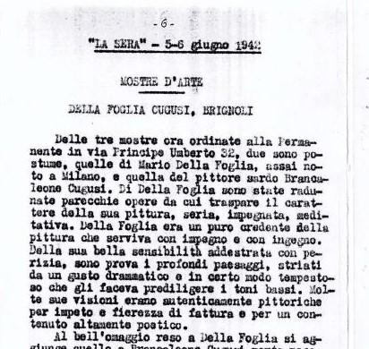 """Art exhibition. Della Foglia, Cugusi, Brignoli, in """"La Sera"""", Milan, 5-6 June 1942"""