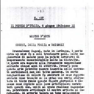 """Art exhibition. Cugusi, Della Foglia e Brignoli, in """"Il Popolo d'Italia"""", Milan, 6 June 1942"""