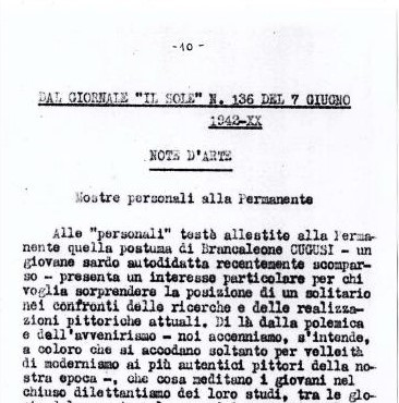 """""""Il Sole"""" 07 June 1942 - Personal exhibitions held at the Permanente Palace of Milan."""