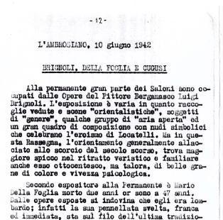 """Milan exhibition. Brignoli, Della Foglia, Cugusi. Anonymous, in """"L'Ambrosiano"""", Milano, 10 June 1942."""