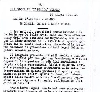 "Artists' exhibition held at the Permanente Palace of Milan: Brignoli, Cugusi e Della Foglia, in ""L'Italia"", 14 June 1942"
