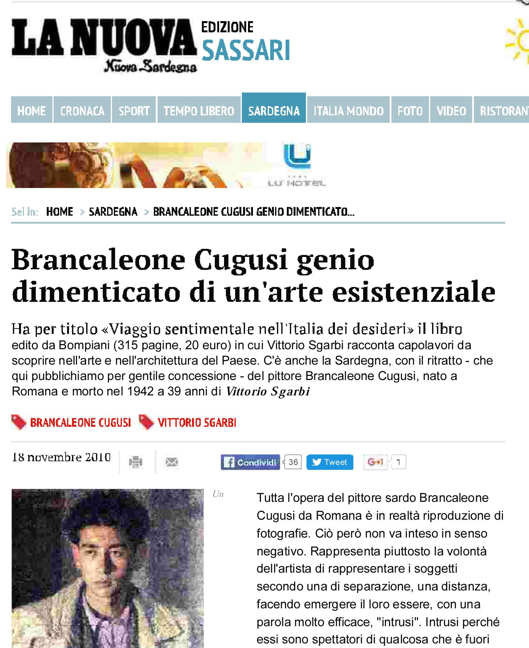Vittorio Sgarbi enhances the genius of Brancaleone Cugusi da Romana