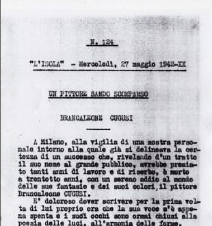 """A Sardinian painter perished, in """"L'Isola"""", 27 May 1942"""