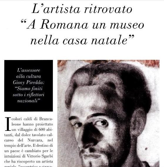 "Magazine ""Le Storie"": The rediscovered artist. Romana (Sardinia), Brancaleone da Romana birthplace museum."